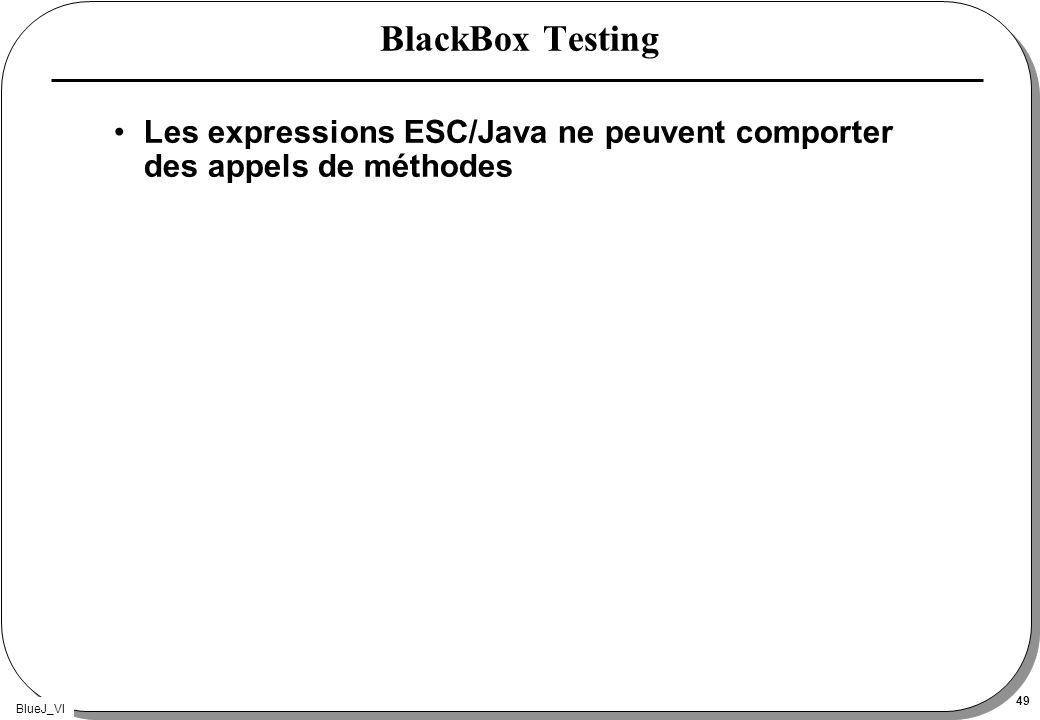 BlueJ_VI 49 BlackBox Testing Les expressions ESC/Java ne peuvent comporter des appels de méthodes