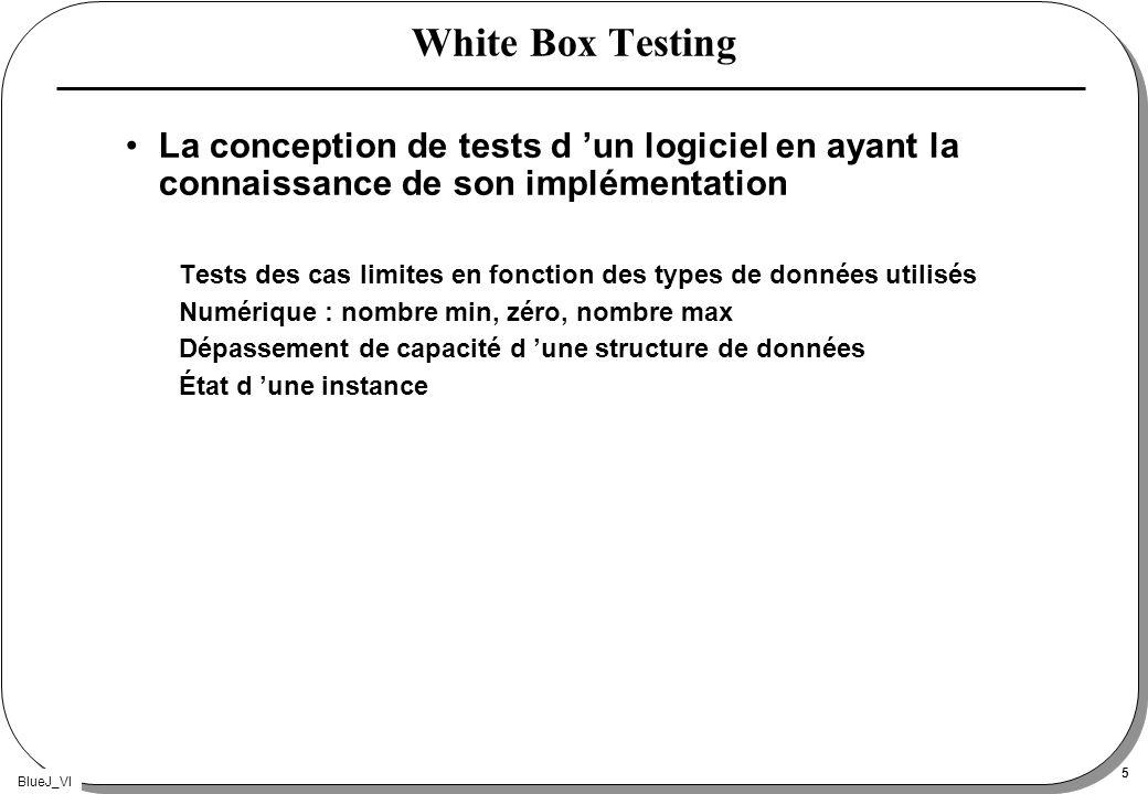 BlueJ_VI 5 White Box Testing La conception de tests d un logiciel en ayant la connaissance de son implémentation Tests des cas limites en fonction des