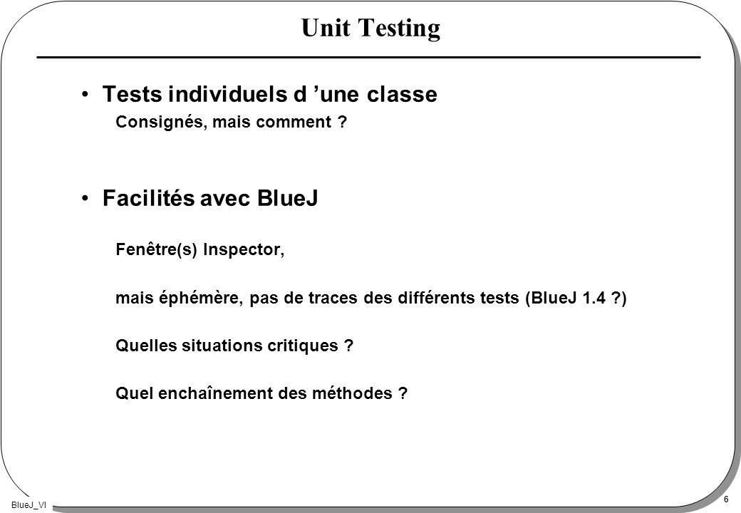 BlueJ_VI 27 blackBoxTesting suite // méthodes empiler, dépiler, sommet, estVide et estPleine p.empiler(5); assert p.sommet()==5 : erreur sommet() ou empiler() ; assert p.taille() == 1 : erreur taille() ; assert !p.estVide() : erreur estVide() ; assert !p.estPleine() : erreur estPleine() ; int res = p.dépiler(); assert res == 5 : erreur dépiler ; assert p.estVide() && !p.estPleine(); int donnée = 0; assert p.estVide(); p.empiler(donnée++); assert !p.estVide() && !p.estPleine(); p.empiler(donnée++); assert !p.estVide() && p.estPleine(); assert p.sommet() == donnée-1;