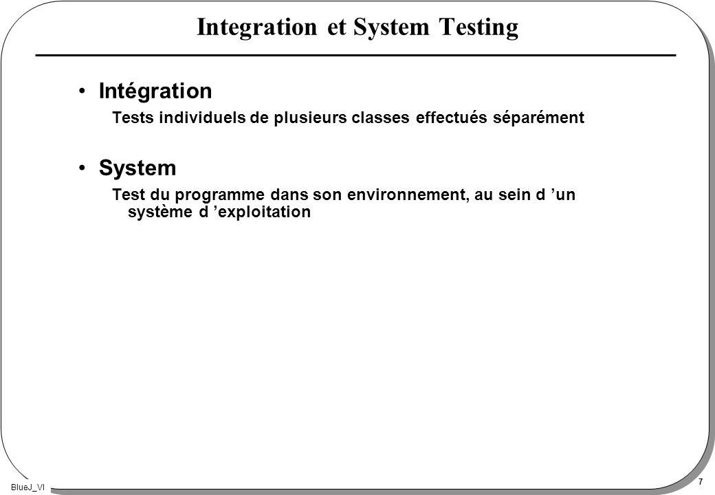 BlueJ_VI 7 Integration et System Testing Intégration Tests individuels de plusieurs classes effectués séparément System Test du programme dans son env