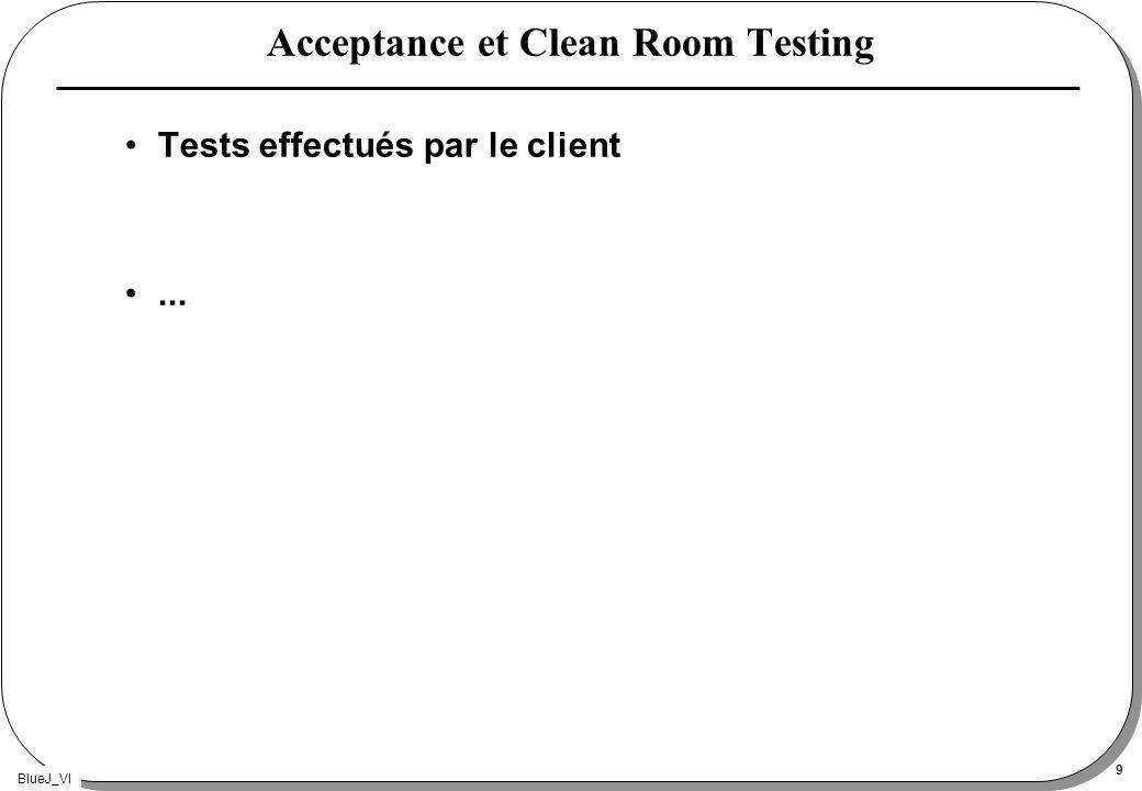 BlueJ_VI 9 Acceptance et Clean Room Testing Tests effectués par le client...