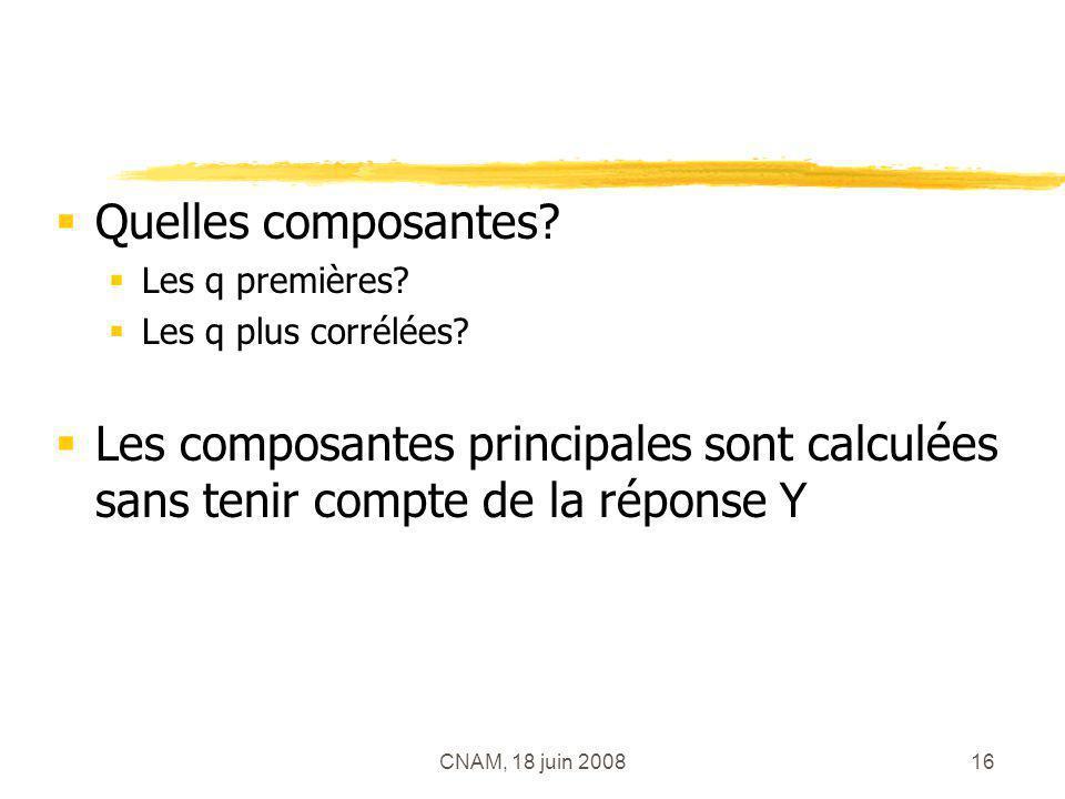 CNAM, 18 juin 200816 Quelles composantes? Les q premières? Les q plus corrélées? Les composantes principales sont calculées sans tenir compte de la ré