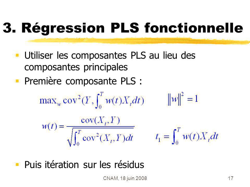 CNAM, 18 juin 200817 3. Régression PLS fonctionnelle Utiliser les composantes PLS au lieu des composantes principales Première composante PLS : Puis i