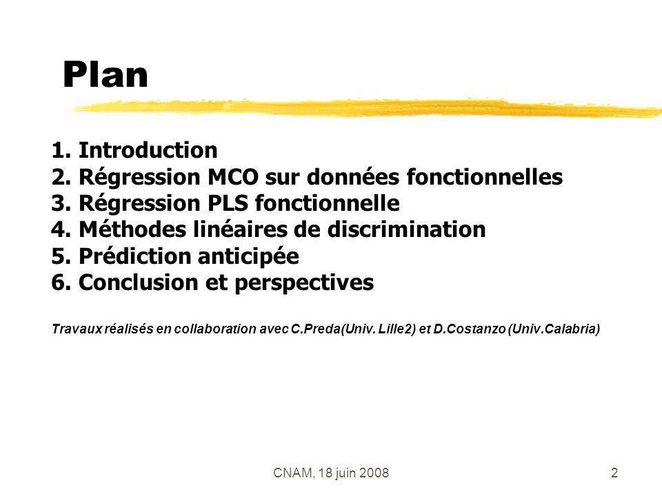 CNAM, 18 juin 20082 Plan 1. Introduction 2. Régression MCO sur données fonctionnelles 3. Régression PLS fonctionnelle 4. Méthodes linéaires de discrim