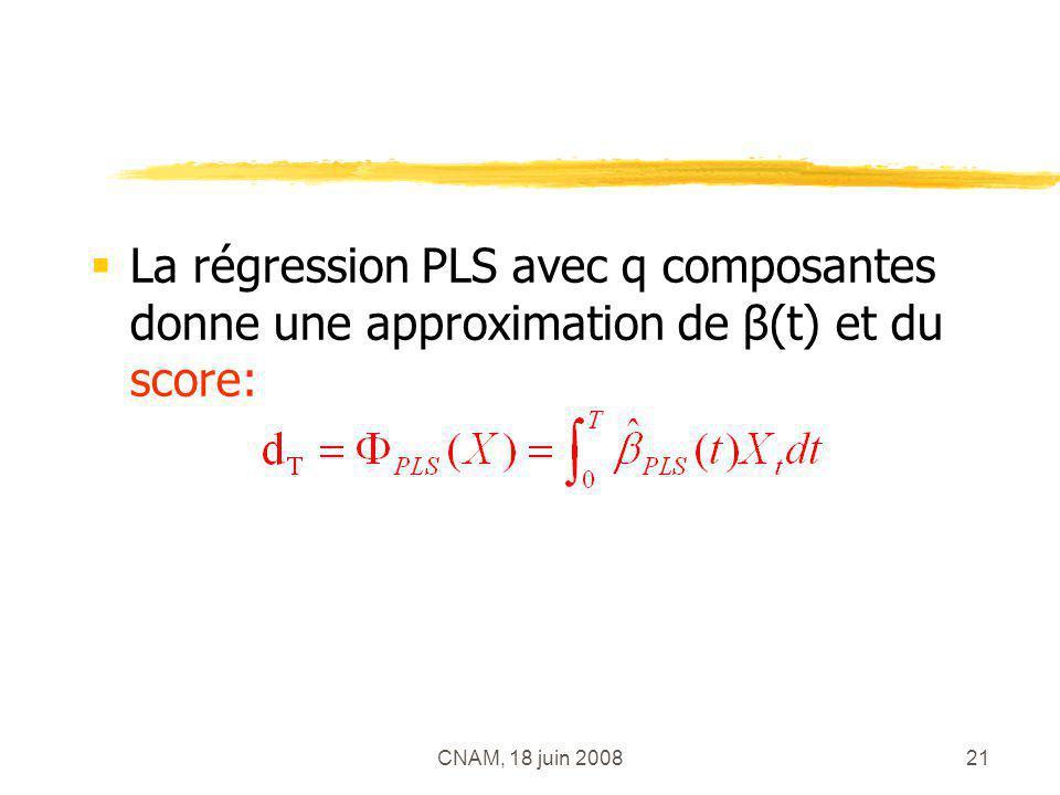 CNAM, 18 juin 200821 La régression PLS avec q composantes donne une approximation de β(t) et du score: