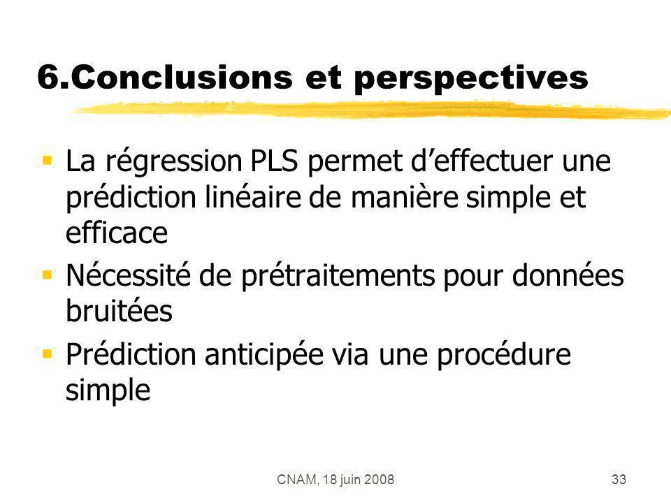 CNAM, 18 juin 200833 6.Conclusions et perspectives La régression PLS permet deffectuer une prédiction linéaire de manière simple et efficace Nécessité