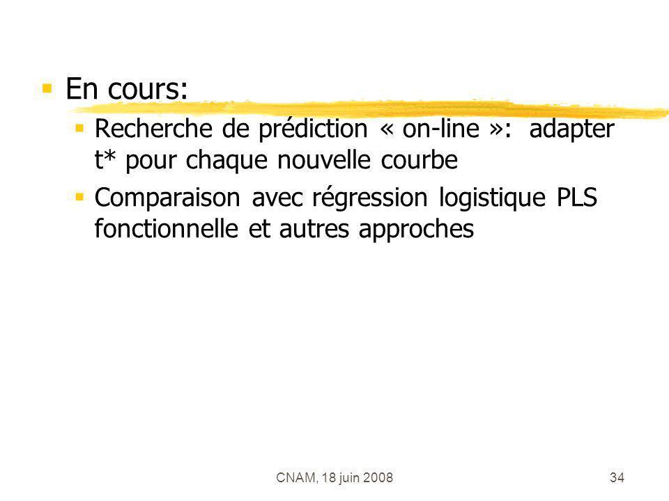 CNAM, 18 juin 200834 En cours: Recherche de prédiction « on-line »: adapter t* pour chaque nouvelle courbe Comparaison avec régression logistique PLS