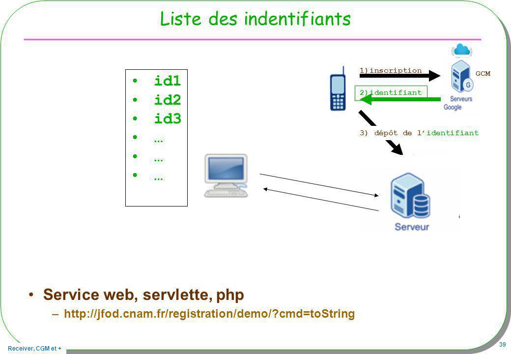 Receiver, CGM et + 39 Liste des indentifiants Service web, servlette, php –http://jfod.cnam.fr/registration/demo/?cmd=toString 1)inscription 2)identif