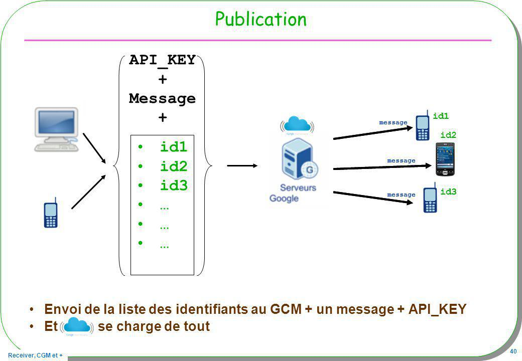 Receiver, CGM et + 40 Publication Envoi de la liste des identifiants au GCM + un message + API_KEY Et se charge de tout id1 message id3 id1 id2 id3 … API_KEY + Message + id1 message id2 id3