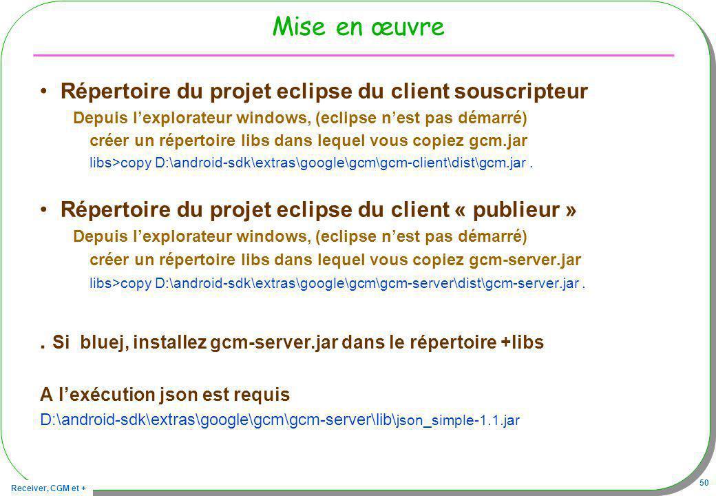 Receiver, CGM et + 50 Mise en œuvre Répertoire du projet eclipse du client souscripteur Depuis lexplorateur windows, (eclipse nest pas démarré) créer