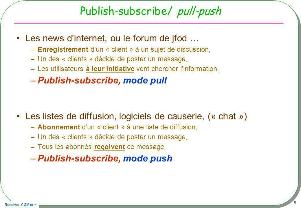 Receiver, CGM et + 6 Publish-subscribe/ pull-push Les news dinternet, ou le forum de jfod … –Enregistrement dun « client » à un sujet de discussion, –