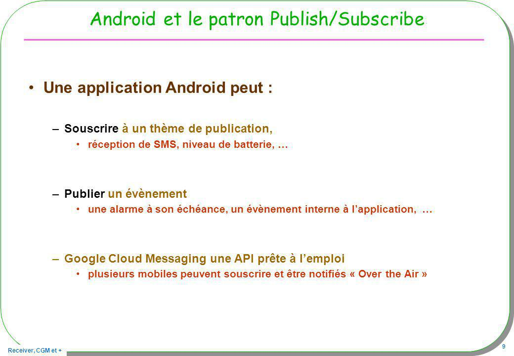 Receiver, CGM et + 10 Android/Publish-Subscribe : les bases Source : http://marakana.com/s/architecting_android_apps,1178/index.html souscription publication