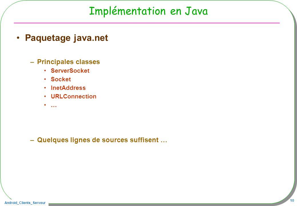 Android_Clients_Serveur 10 Implémentation en Java Paquetage java.net –Principales classes ServerSocket Socket InetAddress URLConnection … –Quelques li