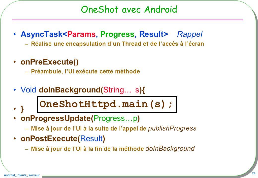 Android_Clients_Serveur 24 OneShot avec Android AsyncTask Rappel –Réalise une encapsulation dun Thread et de laccès à lécran onPreExecute() –Préambule