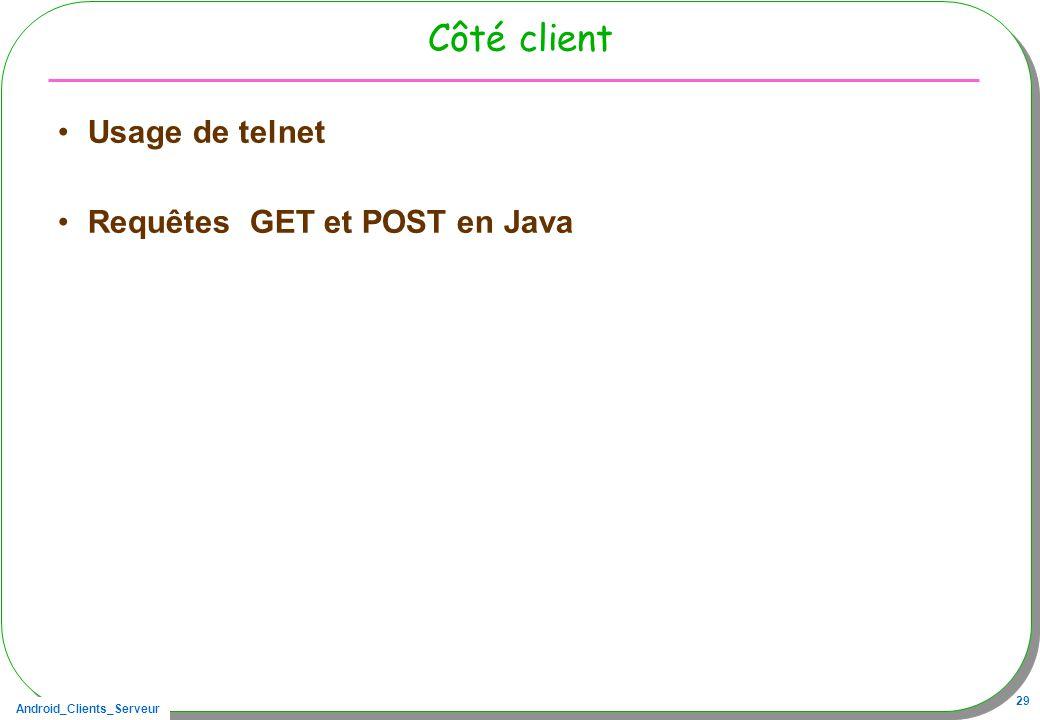 Android_Clients_Serveur 29 Côté client Usage de telnet Requêtes GET et POST en Java