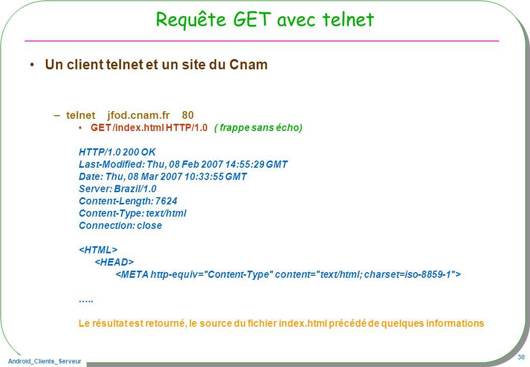 Android_Clients_Serveur 30 Requête GET avec telnet Un client telnet et un site du Cnam –telnet jfod.cnam.fr 80 GET /index.html HTTP/1.0 ( frappe sans