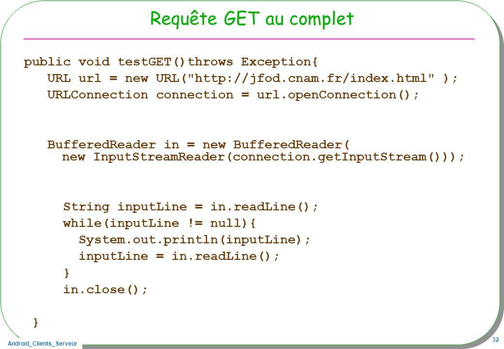 Android_Clients_Serveur 32 Requête GET au complet public void testGET()throws Exception{ URL url = new URL(