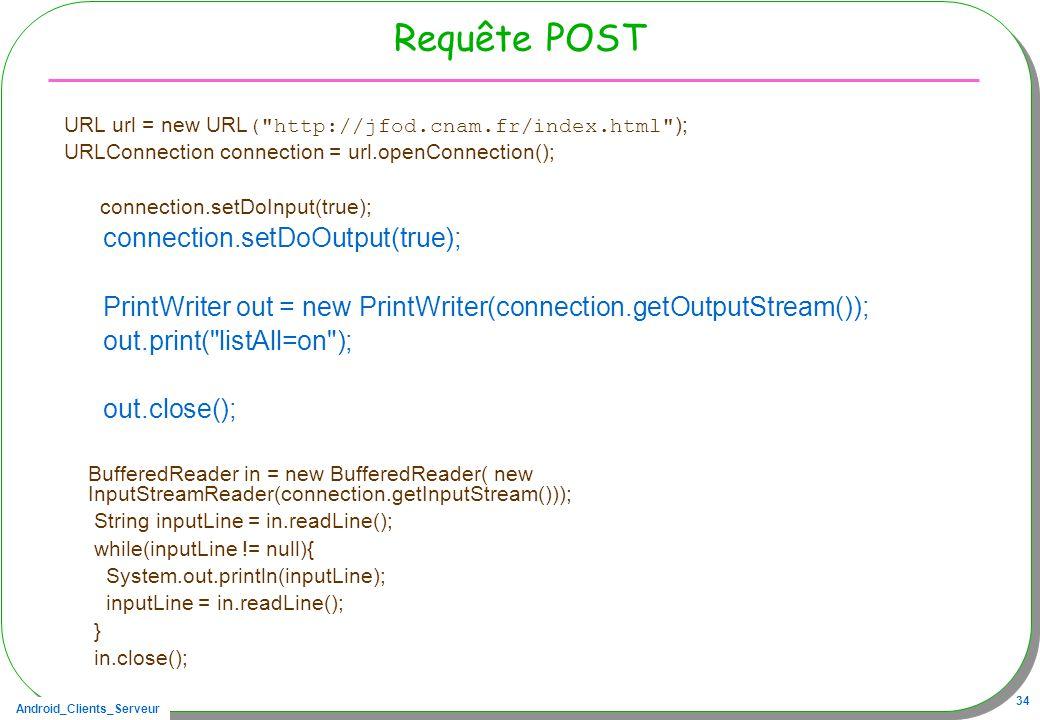 Android_Clients_Serveur 34 Requête POST URL url = new URL (