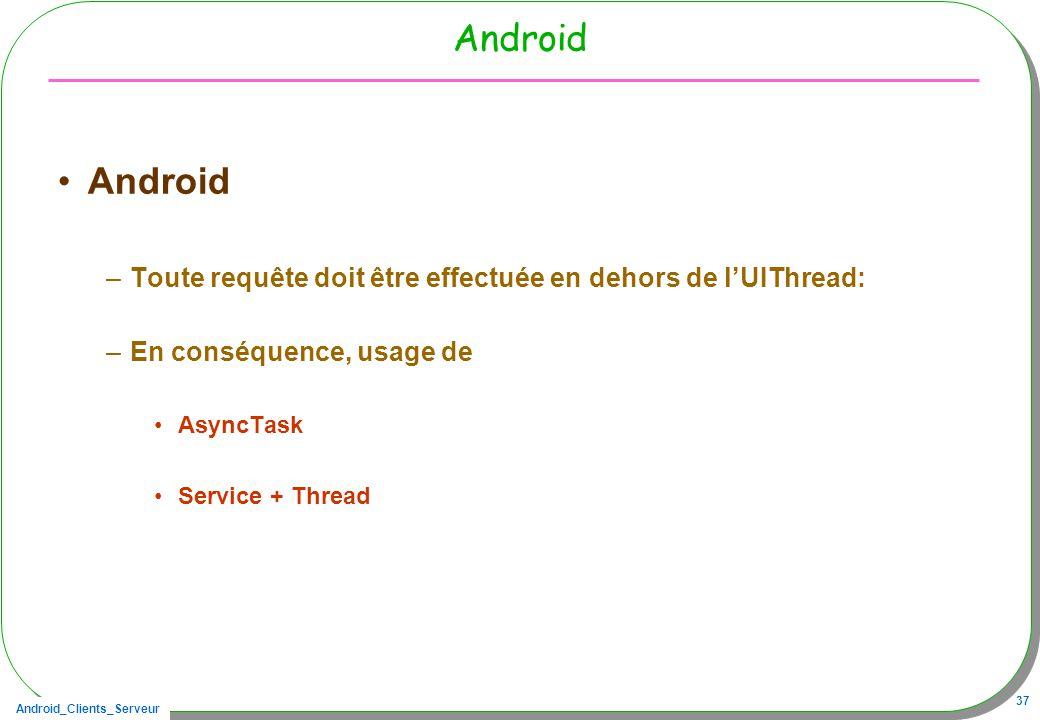 Android_Clients_Serveur 37 Android –Toute requête doit être effectuée en dehors de lUIThread: –En conséquence, usage de AsyncTask Service + Thread