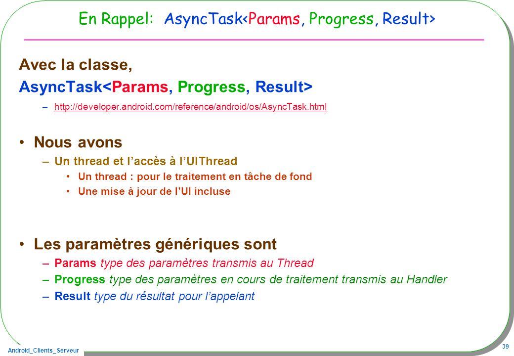 Android_Clients_Serveur 39 En Rappel: AsyncTask Avec la classe, AsyncTask –http://developer.android.com/reference/android/os/AsyncTask.htmlhttp://deve