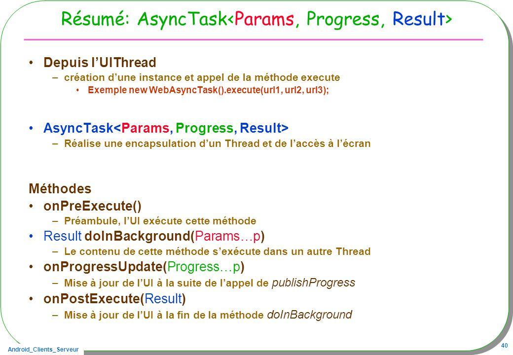 Android_Clients_Serveur 40 Résumé: AsyncTask Depuis lUIThread –création dune instance et appel de la méthode execute Exemple new WebAsyncTask().execute(url1, url2, url3); AsyncTask –Réalise une encapsulation dun Thread et de laccès à lécran Méthodes onPreExecute() –Préambule, lUI exécute cette méthode Result doInBackground(Params…p) –Le contenu de cette méthode sexécute dans un autre Thread onProgressUpdate(Progress…p) –Mise à jour de lUI à la suite de lappel de publishProgress onPostExecute(Result) –Mise à jour de lUI à la fin de la méthode doInBackground