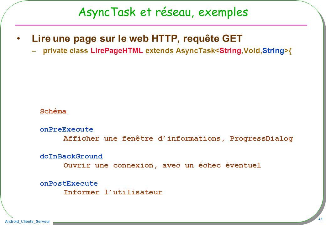 Android_Clients_Serveur 41 AsyncTask et réseau, exemples Lire une page sur le web HTTP, requête GET –private class LirePageHTML extends AsyncTask { Schéma onPreExecute Afficher une fenêtre dinformations, ProgressDialog doInBackGround Ouvrir une connexion, avec un échec éventuel onPostExecute Informer lutilisateur