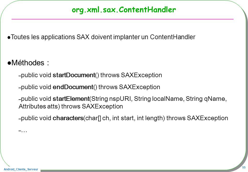 Android_Clients_Serveur 55 org.xml.sax.ContentHandler Toutes les applications SAX doivent implanter un ContentHandler Méthodes : – public void startDocument() throws SAXException – public void endDocument() throws SAXException – public void startElement(String nspURI, String localName, String qName, Attributes atts) throws SAXException – public void characters(char[] ch, int start, int length) throws SAXException – …