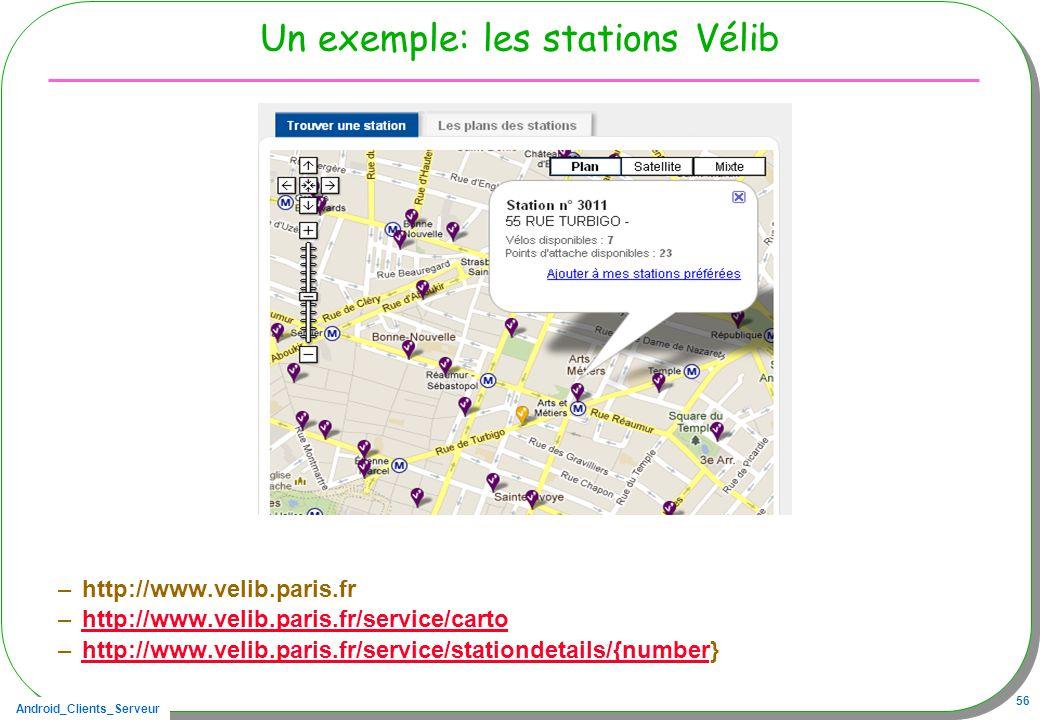 Android_Clients_Serveur 56 Un exemple: les stations Vélib –http://www.velib.paris.fr –http://www.velib.paris.fr/service/cartohttp://www.velib.paris.fr/service/carto –http://www.velib.paris.fr/service/stationdetails/{number}http://www.velib.paris.fr/service/stationdetails/{number