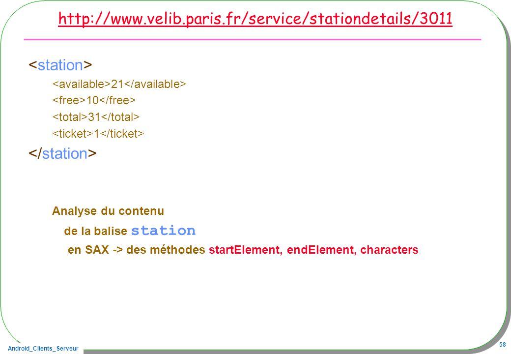 Android_Clients_Serveur 58 http://www.velib.paris.fr/service/stationdetails/3011 21 10 31 1 Analyse du contenu de la balise station en SAX -> des méth