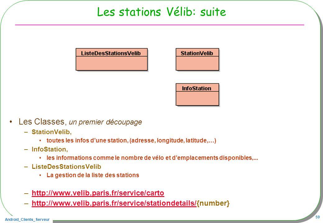Android_Clients_Serveur 59 Les stations Vélib: suite Les Classes, un premier découpage –StationVelib, toutes les infos dune station, (adresse, longitu