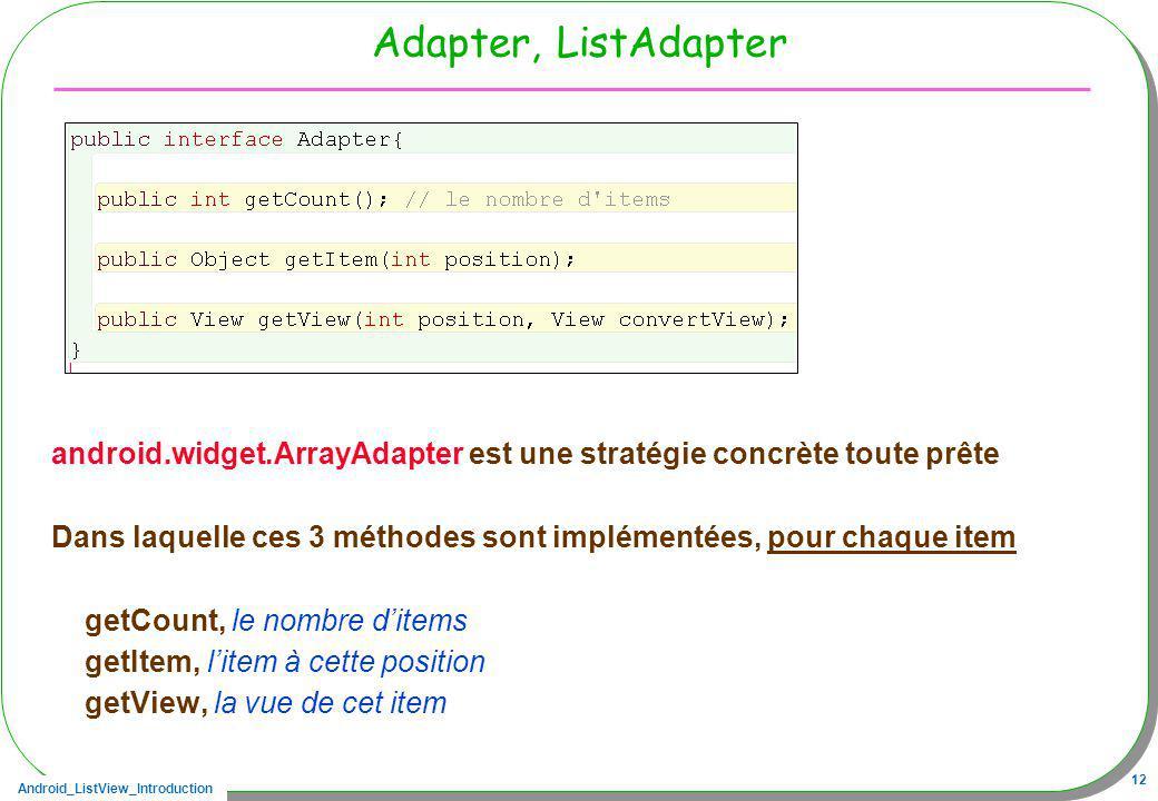 Android_ListView_Introduction 12 Adapter, ListAdapter android.widget.ArrayAdapter est une stratégie concrète toute prête Dans laquelle ces 3 méthodes