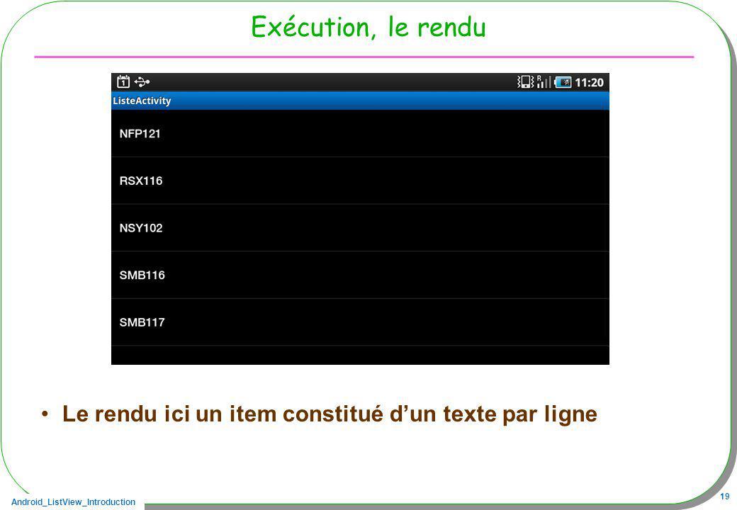 Android_ListView_Introduction 19 Exécution, le rendu Le rendu ici un item constitué dun texte par ligne