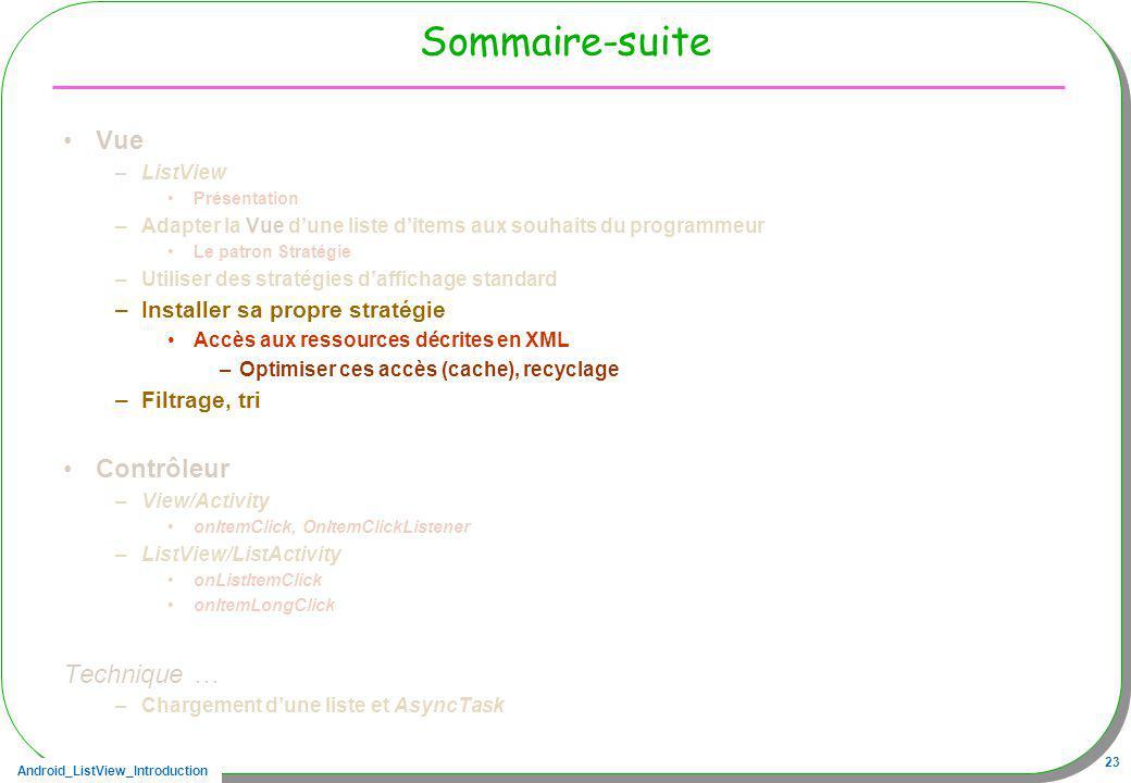 Android_ListView_Introduction 23 Sommaire-suite Vue –ListView Présentation –Adapter la Vue dune liste ditems aux souhaits du programmeur Le patron Str
