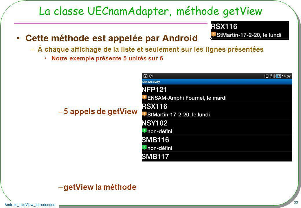 Android_ListView_Introduction 33 La classe UECnamAdapter, méthode getView Cette méthode est appelée par Android –À chaque affichage de la liste et seu