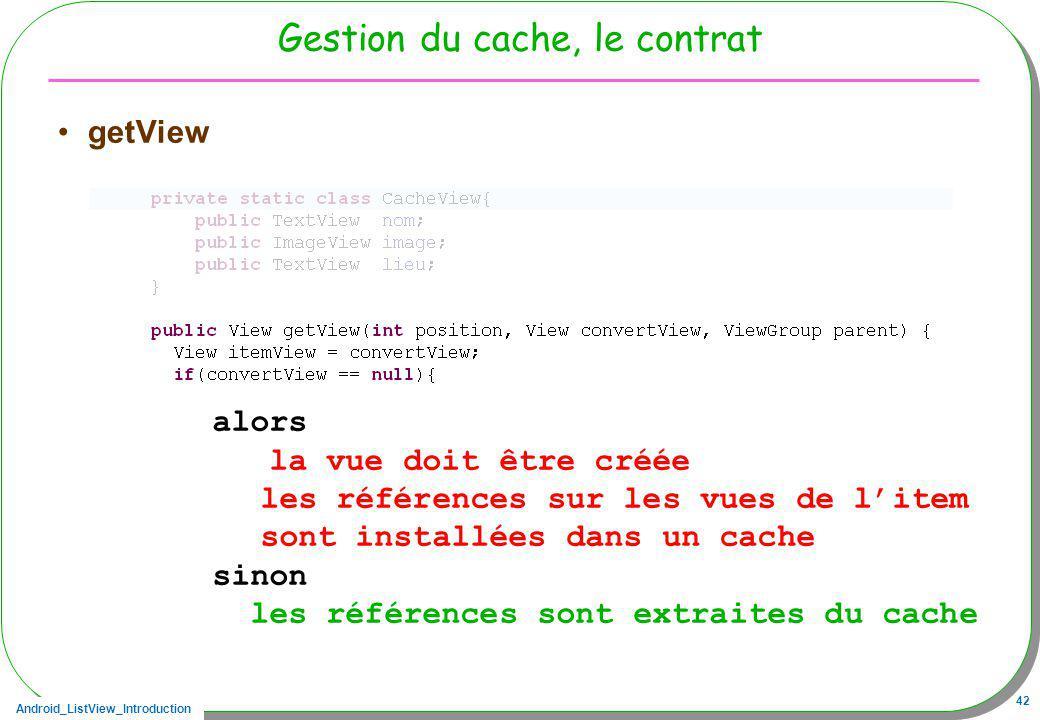 Android_ListView_Introduction 42 Gestion du cache, le contrat getView alors la vue doit être créée les références sur les vues de litem sont installée