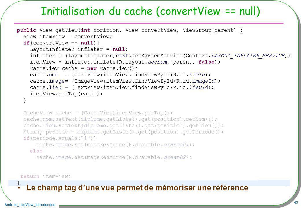 Android_ListView_Introduction 43 Initialisation du cache (convertView == null) Le champ tag dune vue permet de mémoriser une référence