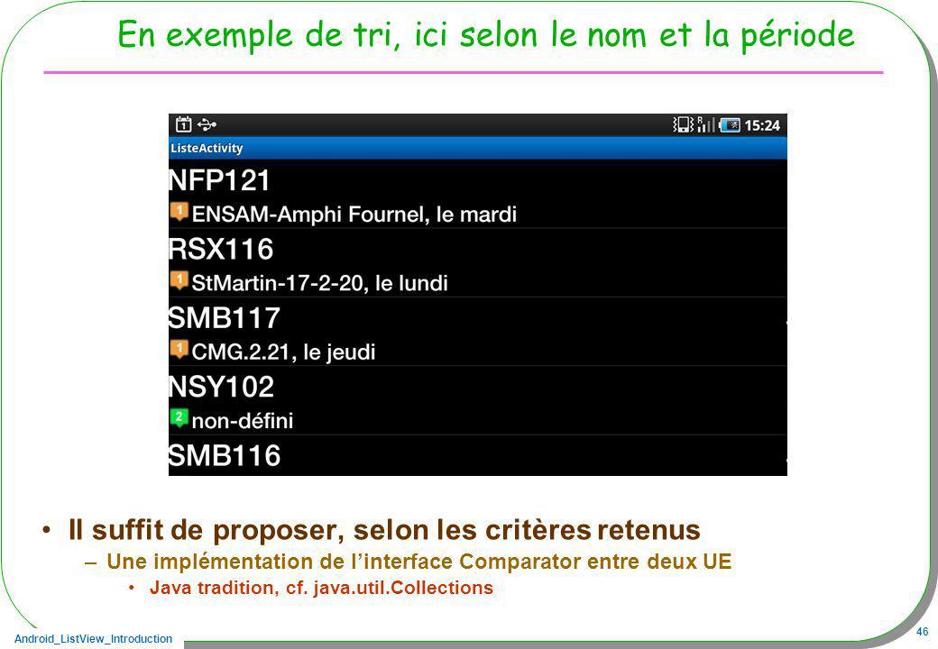 Android_ListView_Introduction 46 En exemple de tri, ici selon le nom et la période Il suffit de proposer, selon les critères retenus –Une implémentati