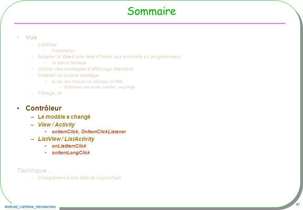 Android_ListView_Introduction 47 Sommaire Vue –ListView Présentation –Adapter la Vue dune liste ditems aux souhaits du programmeur Le patron Stratégie
