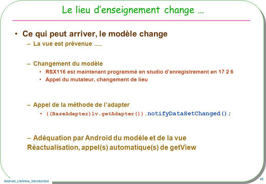 Android_ListView_Introduction 48 Le lieu denseignement change … Ce qui peut arriver, le modèle change –La vue est prévenue …. –Changement du modèle RS