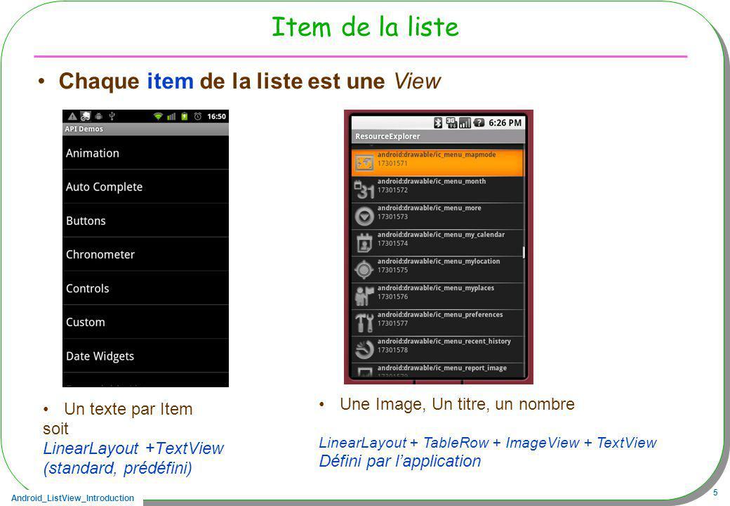 Android_ListView_Introduction 6 ListView Vue Une liste de vues présentant des items Chaque item saffiche selon un format, –Format défini en XML, –Un adaptateur se charge de laffichage, Un style de présentation, une stratégie daffichage, est choisie Il existe des stratégies standard –Une liste ditems constituée de noms séparés dun trait, ArrayAdapter –Une liste ditems constituée dune grille, SimpleAdapter, –Une liste ditems, reflet dune interrogation dans une base de données CursorAdapter –Des adaptateurs créés par le programmeur BaseAdapter est la classe toute prête qu il suffira de dériver