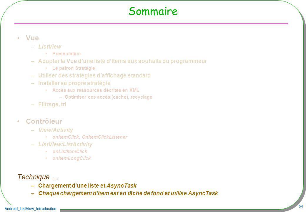 Android_ListView_Introduction 54 Sommaire Vue –ListView Présentation –Adapter la Vue dune liste ditems aux souhaits du programmeur Le patron Stratégie