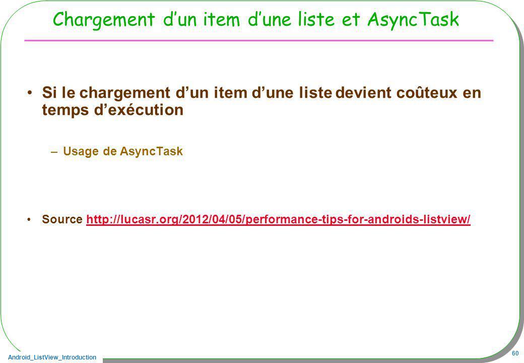 Android_ListView_Introduction 60 Chargement dun item dune liste et AsyncTask Si le chargement dun item dune liste devient coûteux en temps dexécution