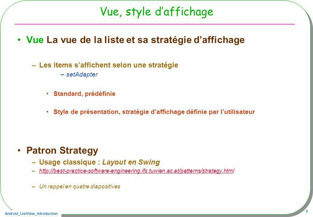 Android_ListView_Introduction 9 Le patron stratégie, loriginal Strategy –Une interface commune ConcreteStrategy –Quelle stratégie effective .