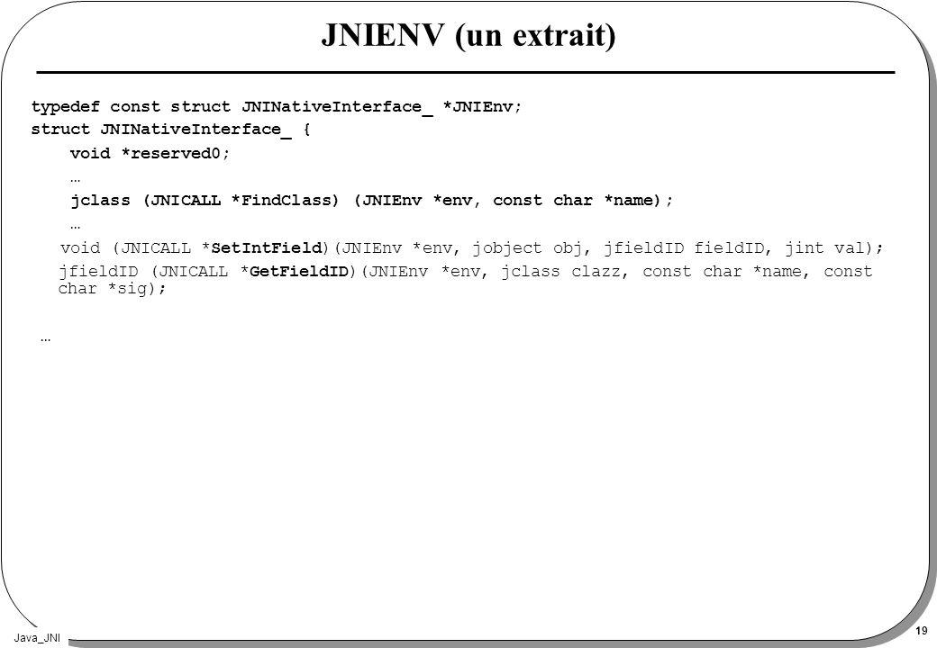 Java_JNI 19 JNIENV (un extrait) typedef const struct JNINativeInterface_ *JNIEnv; struct JNINativeInterface_ { void *reserved0; … jclass (JNICALL *Fin