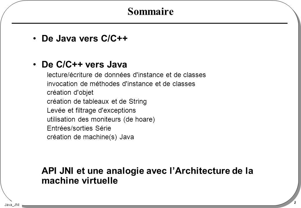 Java_JNI 13 Fonctions de JNI Versions Opérations sur les classes Exceptions Références locales et globales Opérations sur les objets Accès aux champs des objets Appels de méthodes d instances Accès aux champs statiques Appels de méthodes de classes Opérations sur les instances de type String Opérations sur les tableaux Accès aux moniteurs Interface de la JVM