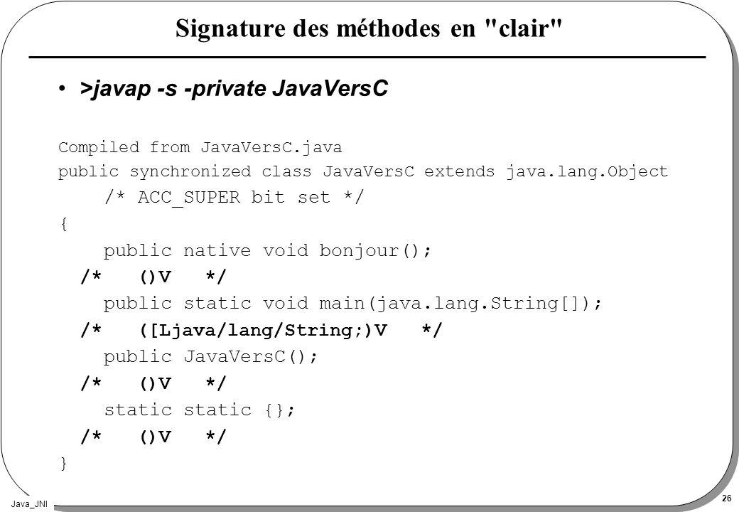 Java_JNI 26 Signature des méthodes en