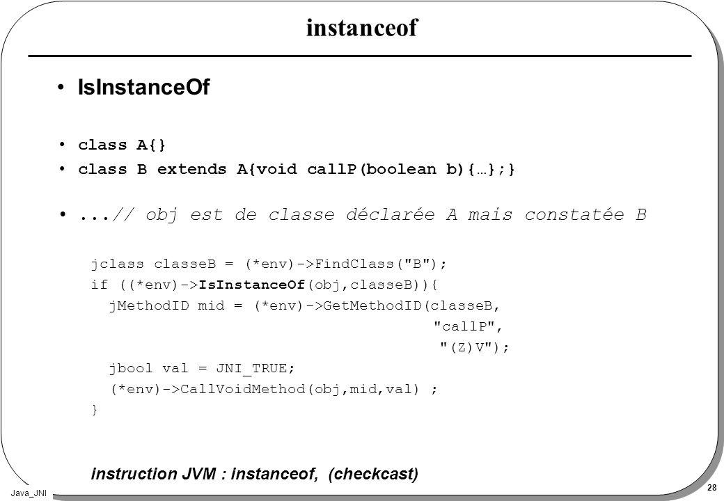 Java_JNI 28 instanceof IsInstanceOf class A{} class B extends A{void callP(boolean b){…};}...// obj est de classe déclarée A mais constatée B jclass c