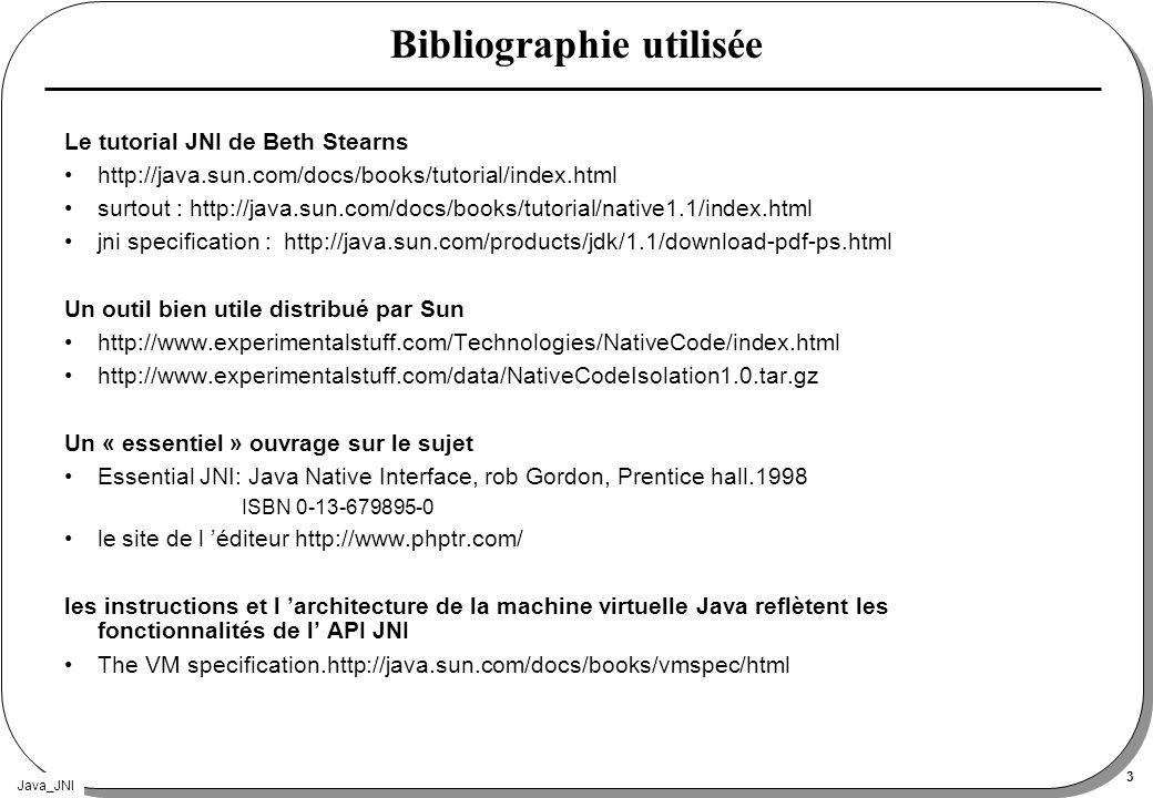 Java_JNI 3 Bibliographie utilisée Le tutorial JNI de Beth Stearns http://java.sun.com/docs/books/tutorial/index.html surtout : http://java.sun.com/doc