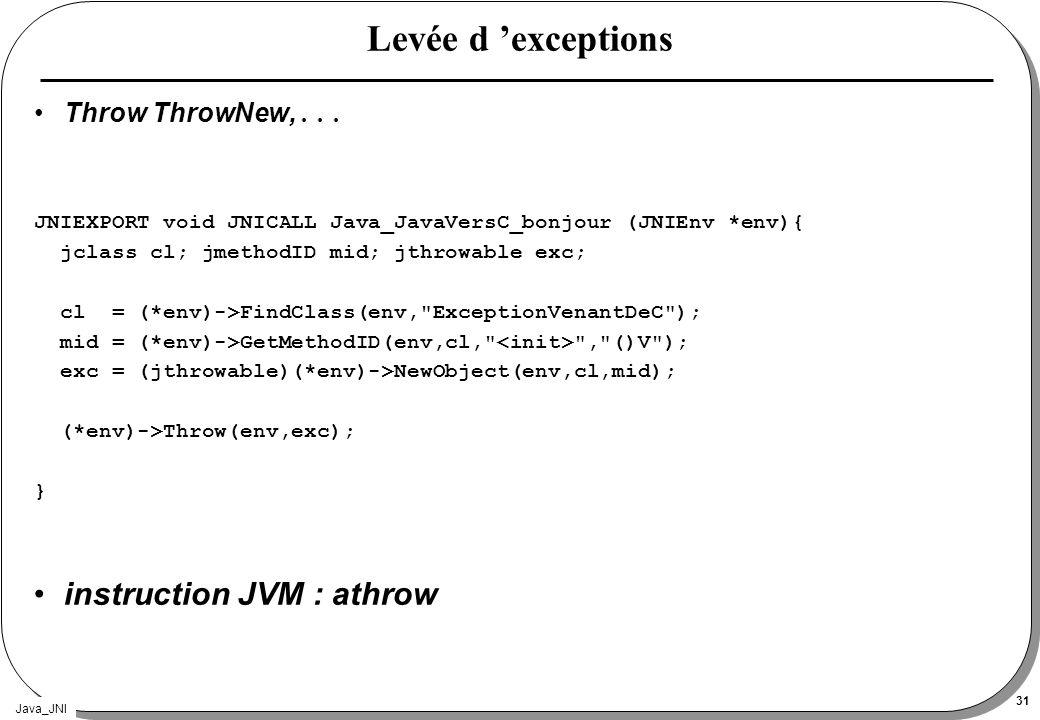 Java_JNI 31 Levée d exceptions Throw ThrowNew,... JNIEXPORT void JNICALL Java_JavaVersC_bonjour (JNIEnv *env){ jclass cl; jmethodID mid; jthrowable ex