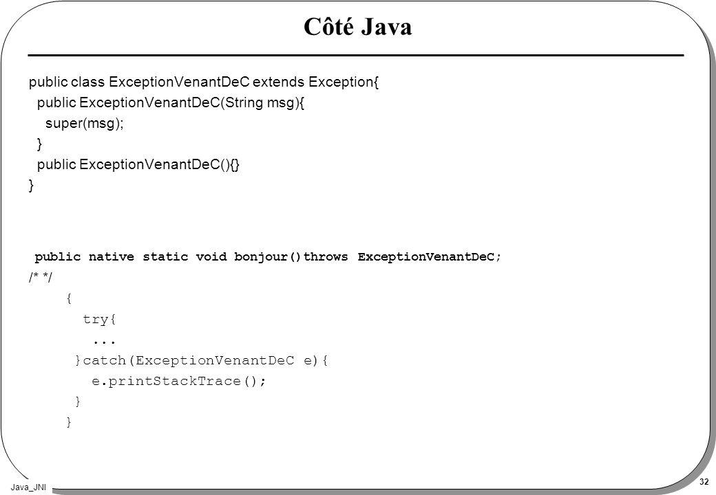 Java_JNI 32 Côté Java public class ExceptionVenantDeC extends Exception{ public ExceptionVenantDeC(String msg){ super(msg); } public ExceptionVenantDeC(){} } public native static void bonjour()throws ExceptionVenantDeC; /* */ { try{...